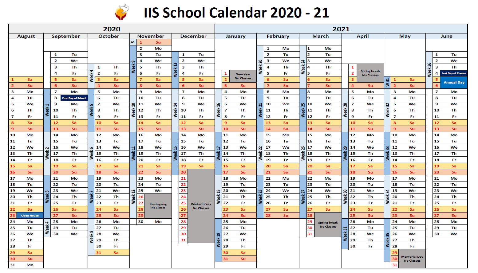 Visual School Calendar for 2020-2021