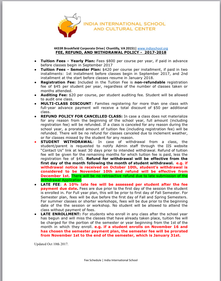 School Policy on Fees, Refunds, Withdrawals & Late Enrollments