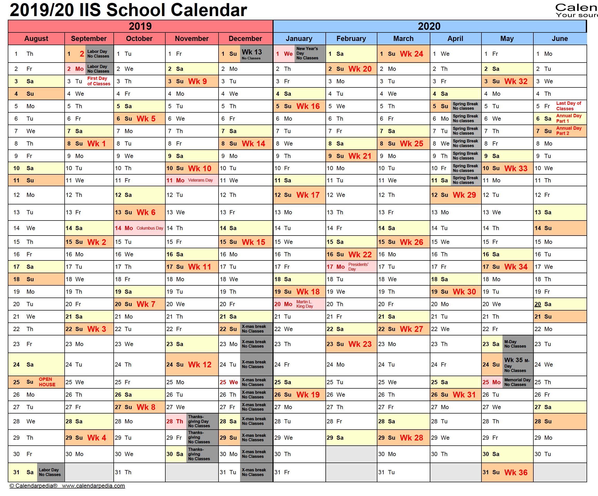 Visual School Calendar for 2019-2020